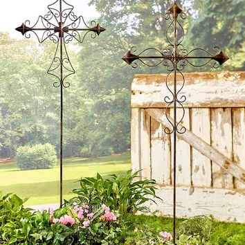 Metal Scroll Cross Garden Stake Oversized 4' Tall Religious Lawn Yard Decor