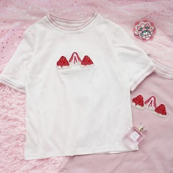 Embroidered Strawberry Tee