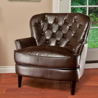 Alfred Brown Leather Chair
