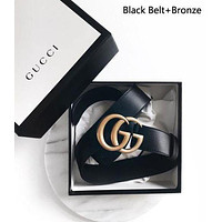"""GUCCI"" Stylish Women Men Personality Smooth Buckle Leather Belt Red"