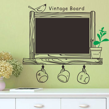 Creative class black board Removable Wall Sticker Kitchen Chalk Board Decal Decor Blackboard Bird Sticker kid bedroom