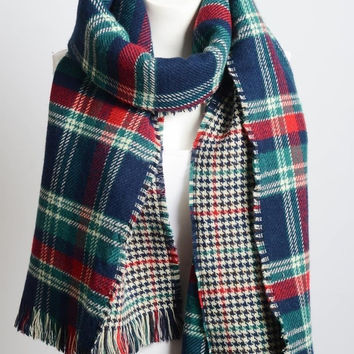 Blue Tartan Plaid Houndstooth Reversible Oversized Blanket Scarf / Shawl or Table Runner - Extra Long Thick & Wide