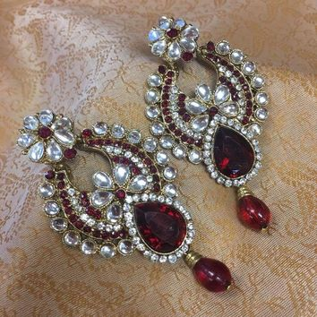Kundan Earrings-Red