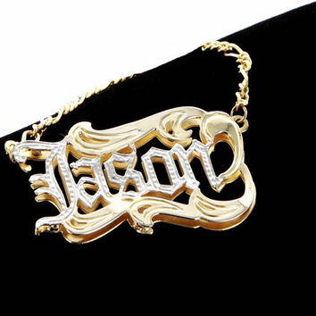Name Necklace for Man, Silver Necklace, double plated necklace, Gold name necklace, gift for men, fathers day gift idea, cool daddy, hip hop