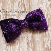 Purple Sparkly Hairbow, Sparkly Hairbow, Glittery Bows, 2.75 Inch, Girls Bows, Toddler Bow, Glitter Bow, Tuxedo Hairbow, Glitter Hairbow