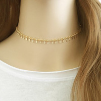 Simple Chain Choker Necklace, Minimalist Choker, Gold Choker, Gold Collar, Chain Necklace, Drops Choker, Trendy Jewelry / N316