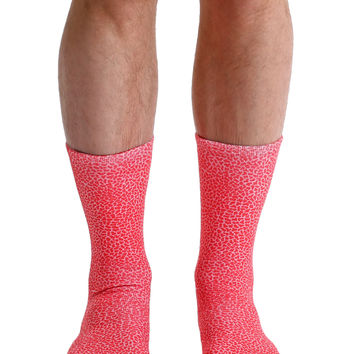 Pebble Red Crew Socks