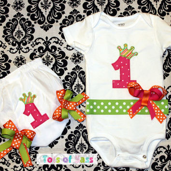 PERSONALIZED Birthday Number Crown Princess Set- Onesuit or Toddler Shirt with matching Bloomer  CUSTOMIZE by adding a name