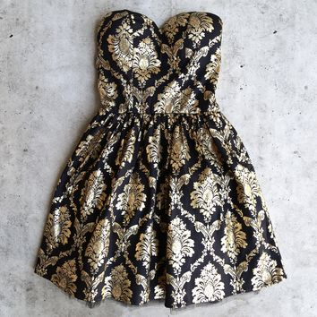 strapless gold baroque print dress - black