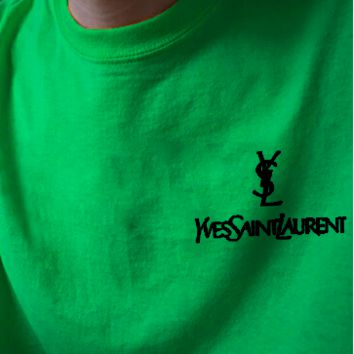 YSL Top Yves Saint Laurent Shirt Sides Embroidery Logo Women Men Tee Shirt Top B-AA-XDD Five Color-Green