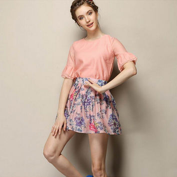Pink Ruffle Sleeve Blouse With Floral Pleated Skirt