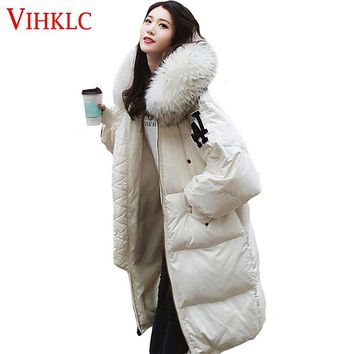Long Down Cotton Puffer Jacket Women Winter Hooded Fur Fashion Parka Feather Quilted Coat Loose Warm Zipper Outwear L174
