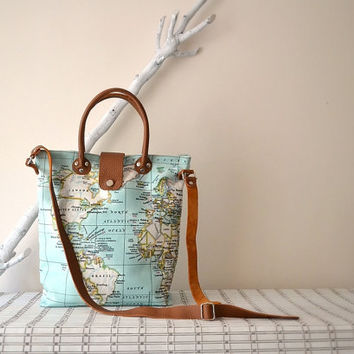 Bright Mint Bag, Mint World Map Bag, Leather Canvas Tote, Tan Leather Crossbody Bag, World Map Diaper Bag, Handbag, Purse, World Map Printed