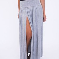 Double Slit Maxi Skirt- Grey
