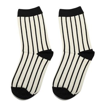 Women Cotton Houndstooth Stripes Plaid Socks Black White Hit Color Socks