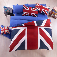 2016 Home textile Autumn bedding set duvet cover bed sheet winter Union Jack beding bedspread American Flag housse de couette