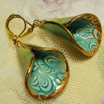 Ceramic 24 Carat Gold Glazed Handmade Earrings