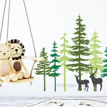 3 Color Pine Tree Forest Wall Decals - Tree Wall Decals, Forest Mural, Deer Decals, Large Wall Decals, Children's Forest Decals ga80