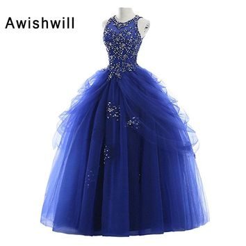 c6605f3895 New Arrival Sleeveless Appliques Beadings Tulle Floor Length Party Dress  Long Quinceanera Royal Blue Prom Dresses