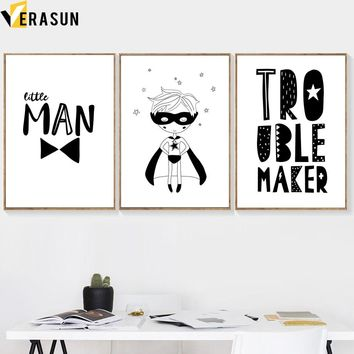 VERASUN Boy Letter Nordic Poster Black And White Wall Art Posters And Prints Canvas Painting Wall Pictures For Kids Room Decor