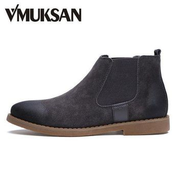 Vmuksan Brand Chelsea Boots Men Warm Plush Winter Shoes For Men Moc Toe Fashion Boots - Beauty Ticks