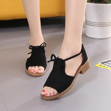 mokingtop   women Summer sandals Women's Ladies Lace Up Wedge Espadrilles Summer Chunky Holiday Sandals Shoes ##
