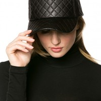 Quilted Faux Leather Cap in Black