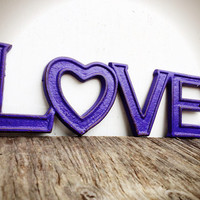 BOLD bright grape purple retro LOVE sign // rustic distressed shabby chic metal // valentines heart teen room decor