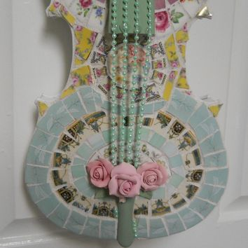 Violin Handmade Shabby Chic Mosaic Wall Art Center Piece Music Gift Chic broken china plate rims and stained glass baubles and jewels