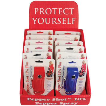 12 - Pepper Shot Pepper Spray Leatherette Mixed Colors with Counter Display