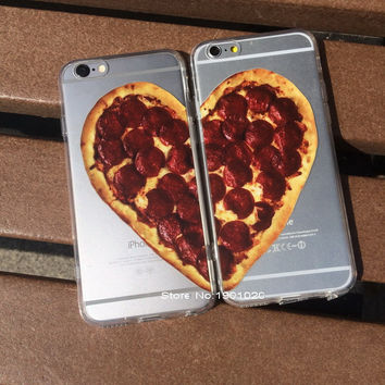 TPU+PC Love Heart Pizza Cover for iPhone 5 6 6plus Pizza Couple Printed Plastic phone Case for iPhone 5  6  6plus
