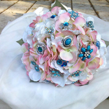 Brooch Wedding Bouquet, Pink, Turquoise, Aqua, Ivory, Bridal, brooch wedding bouquet, Vintage, Blue, Shabby Chic, Glam, Fabric Flower