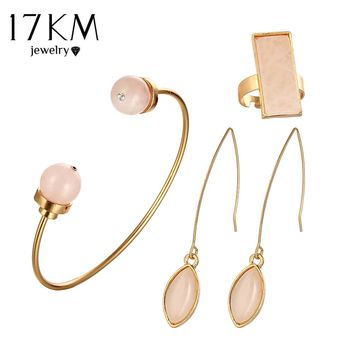 17KM Pink Stone Jewelry Set V Shape Earrings Open Cuff Bangles Square Adjustable Rings New Fashion Wedding Jewelry For Woman