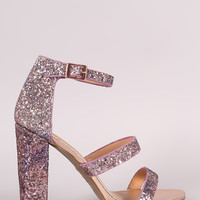 Bamboo Ombre Glitter Encrusted Triple Straps Heel