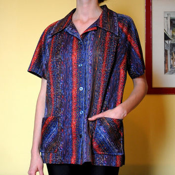Vintage Shirt Abstract Pattern Button Up Women Size Large Double Pockets Blue Red Purple 1970s Bowling Shirt Disco Men