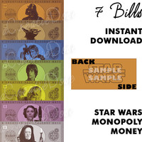 DIY Star Wars (FIRST GENERATION) Monopoly Money, Instant Digital Download - Money Only