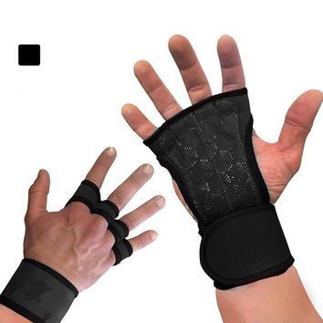 Weightlifting fitness semi finger gloves, sports hand guards, wristbands, dumbbells, Gym Gloves, riding  wrist sleeve
