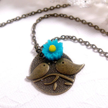 Flower Blossom Bird Family Necklace  by FashionCrashJewelry