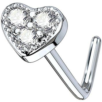 BodyJ4You 20G Nose Ring L-Shape Bend Stud Clear CZ Heart Surgical Steel Nostril Body Piercing