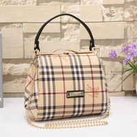 """Burberry"" Women Classic Fashion War Horse Multicolor Tartan Stripe Metal Chain Single Shoulder Messenger Bag Handbag"