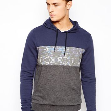 ASOS Overhead Hoodie With Printed Cut And Sew Panel