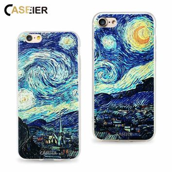 CASEIER Case For iPhone 6 6s 7 8 Plus Cover Coque Van Gogh Starry Night Cases For iPhone 5 5s SE 8 Print Relief Capa Accessories