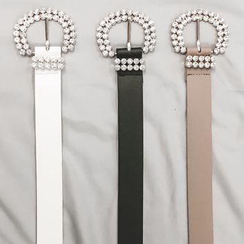 Glitz & Glam Double Row Rhinestone Buckle Belt