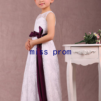 Scoop neck line lace with satin sash flower girl dress