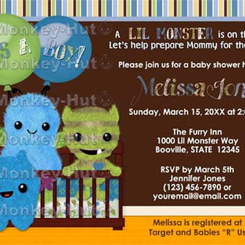Monster Baby Shower Invitation Peek a Boo Monsters boy PABC (DIGITAL) twins too