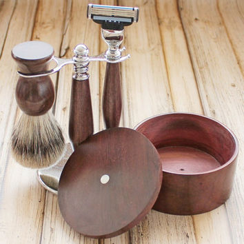 Katalox Shaving Set with Mach 3 Razor, Shaving Brush with AAA Best Badger Hair, Mother of Pearl, Stand and Soap Bowl, Valentine Gift for Men