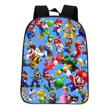 Super Mario party nes switch New Style 12 Inches Oxford Printing  Kindergarten Infantile Small Backpack for Kids Baby Cartoon School Bags Children AT_80_8