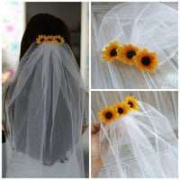 Bridal Shower Bachelorette Veil Whit Sunflowers