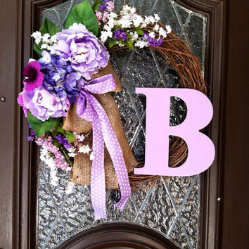Spring Wreath, Personalized Spring Wreath, Easter Wreath, Spring Wreaths, Purple Spring Wreath, Wedding Wreath, Grapevine Spring Wreath