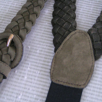 Male Vintage Suspenders, Sage or Olive Green braided leather, gold tone hardware. Would be a great Father's Day gift.